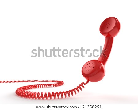 A red telephone receiver on white background. Computer generated image with clipping path. - stock photo