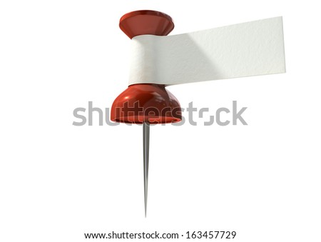 A red thumbtack with a blank white tape tag attached to it on an isolated white background - stock photo