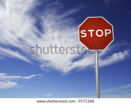 A red, traffic, STOP sign, made on a 3D rendering software. (with a sky background)
