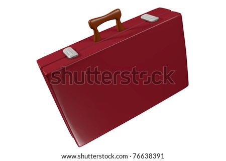 a red travel bag on white - stock photo