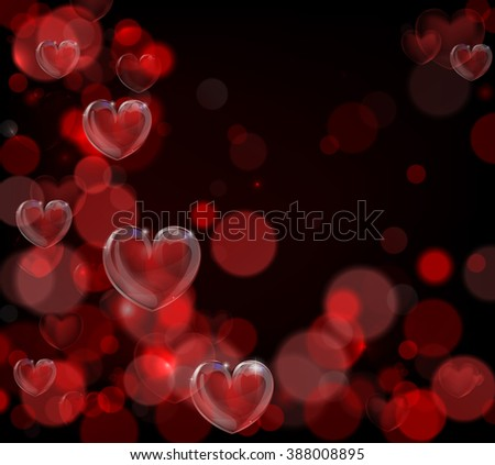 A red valentines day hearts background with bokeh effects - stock photo