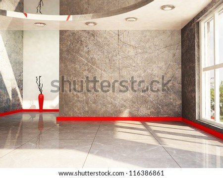 a red vase in the empty room, rendering - stock photo