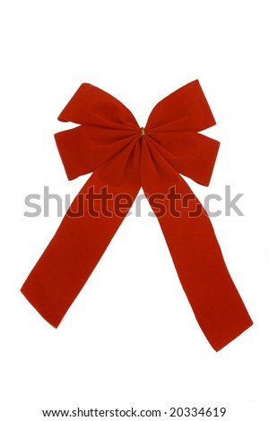 A red velvet ribbon on white background