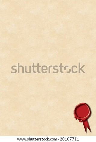 A red wax seal with ribbon positioned bottom right on a cream parchment styled paper.