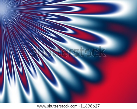 A red, white and blue pattern resembling a large flower section reaches out from the upper  left hand corner on this fractal background. - stock photo