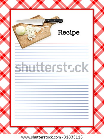 A red white recipe layout - matching background, menu page,  recipe layouts available in my portfolio. - stock photo