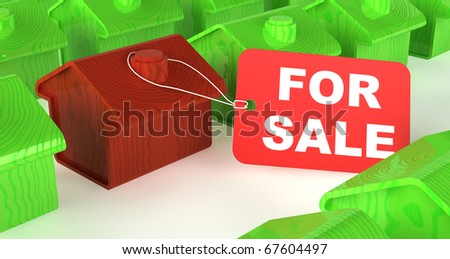 A red wooden house among rows of green houses with a 'For Sale' price tag