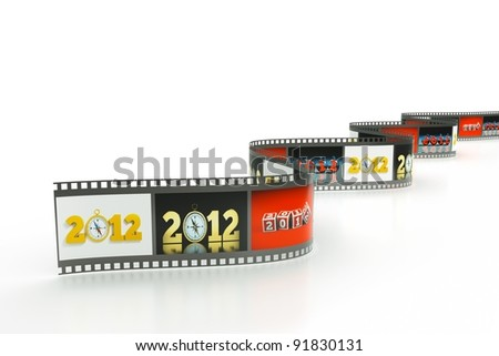 a reel of film with pictures of 2012 year as a concept background - stock photo