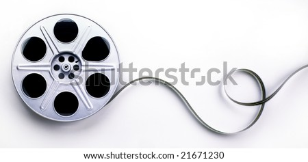 A reel of 35mm motion picture film on a white background - stock photo
