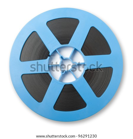 A reel of motion picture film on  white background - stock photo
