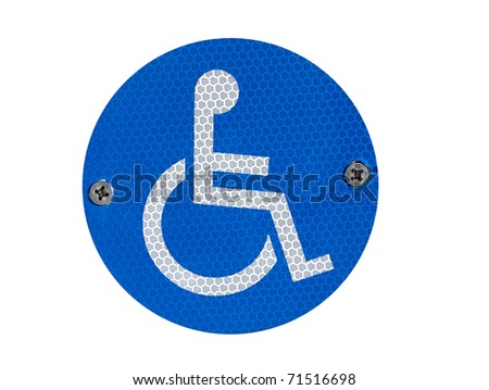 A reflective disabled parking sign  - isolated over white - stock photo
