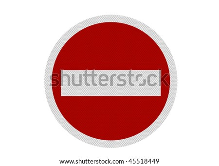 A reflective, metallic 'no entry' sign, isolated on a pure white background. Perfectly circular. - stock photo
