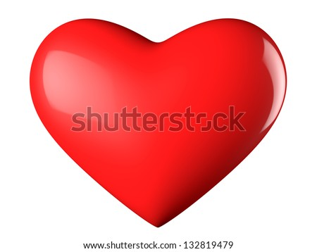 A reflective red heart with white background - stock photo