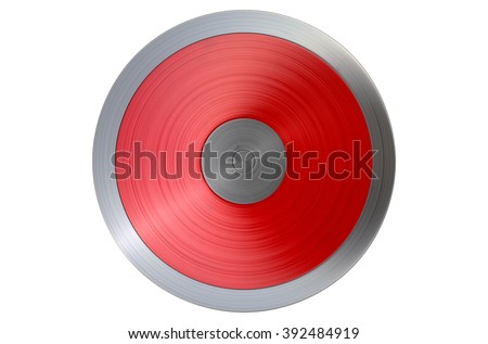 A regular athletics discus on an isolated white studio background - stock photo