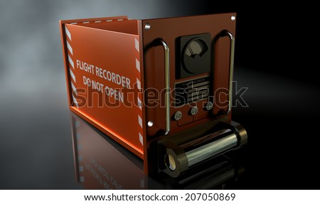 A regular aviation flight recorder black box painted in orange on a dark isolated studio background - stock photo