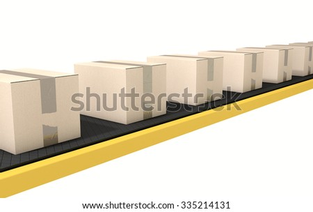 A regular belt conveyor system transporting cardboard boxes on an isolated white studio background - stock photo