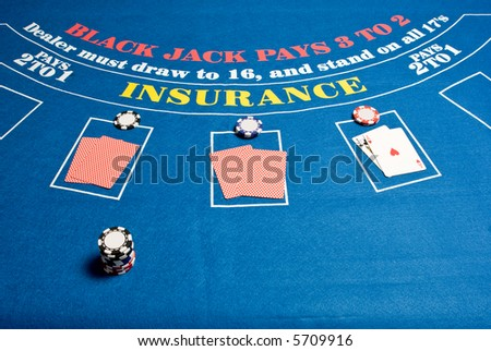 A regular blackjack table - stock photo