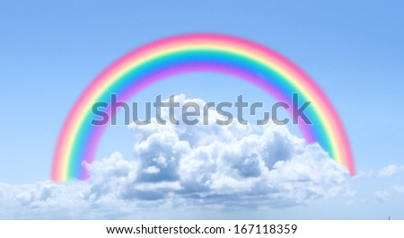 A regular  blue sky background with a perfect round rainbow - stock photo