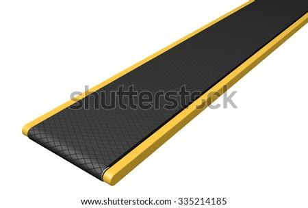 A regular empty belt conveyor on an isolated white studio background - stock photo
