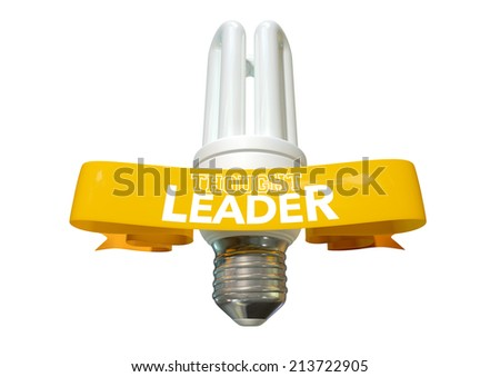 A regular fluorescent light bulb with shiny yellow banner and the phrase thought leadership written on it on an isolated white background