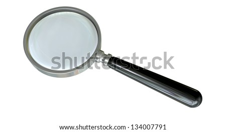 A regular glass magnifying glass on an isolated background - stock photo
