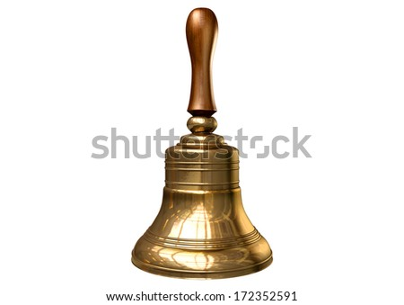 A regular gold metal school bell with a wooden handle on an isolated white background