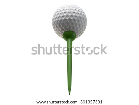 A regular golf ball on a green tee on an isolated white studio background