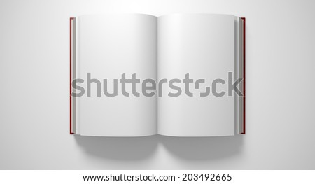 A regular hard cover book open in the middle with blank white pages on an isolated white background - stock photo