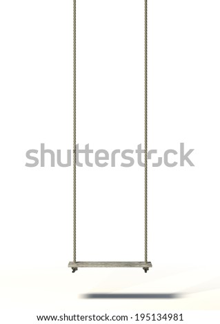 A regular home made swing made of rope and a wooden plank on an isolated white background - stock photo