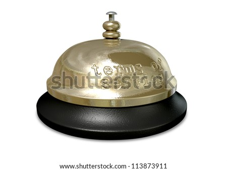 A regular metal and plastic hotel or service bell with the words terms of service punched into the metal