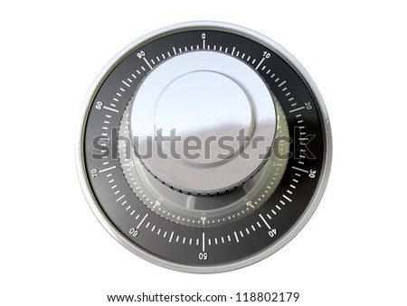 A regular metal safe combination dial on an isolated background