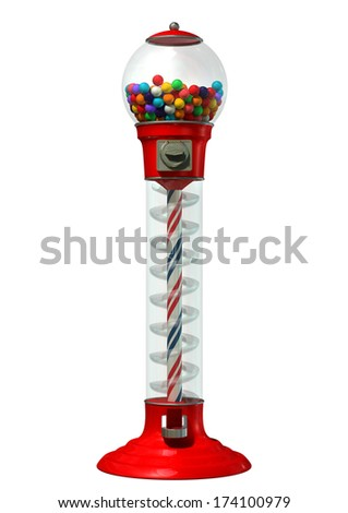 A regular red vintage gumball dispenser machine made of glass and reflective plastic with chrome trim filled with multicolored gumballs on an isolated white background - stock photo