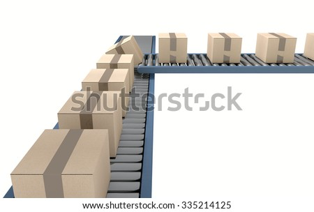 A regular roller conveyor system transporting cardboard boxes on an isolated white studio background - stock photo