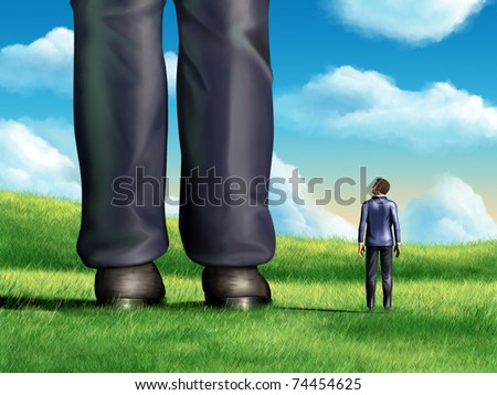 A regular-sized businessman is looking at the giant legs of a competitor. Digital illustration. - stock photo