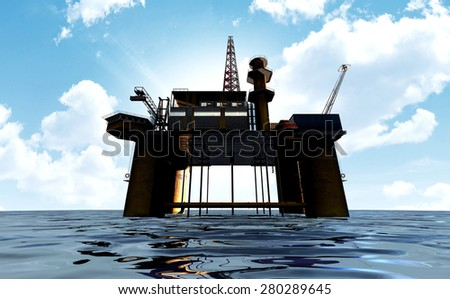 A regular view of an oil rig out at sea on a blue cloudy sky background - stock photo