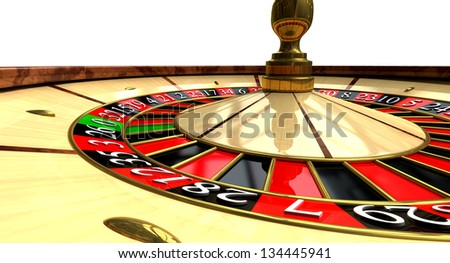 A regular wood roulette wheel with red and black markers and gold detail on an isolated background