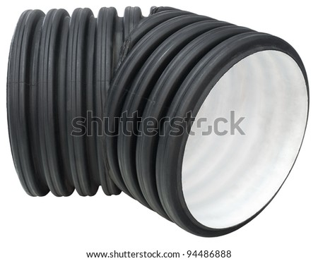 a reinforced sewer pipe elbow,of big caliber, isolated - stock photo