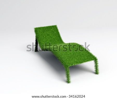 a relaxing chair in grass textured in 3d