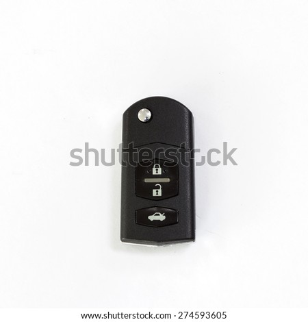 A remote car key isolated on white - stock photo