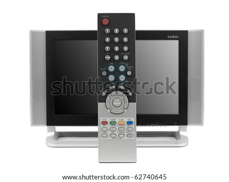 A remote control and a LCD TV monitor isolated against a white background - stock photo