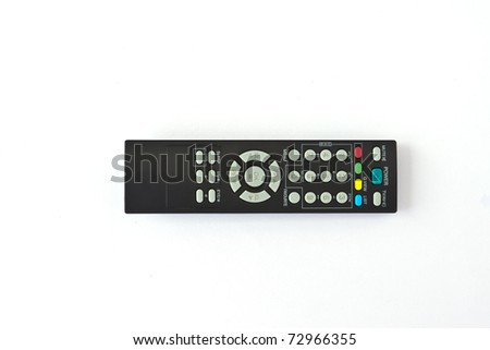 A remote TV controller over a white background - stock photo