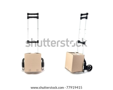 A removal trolley isolated against a white background - stock photo
