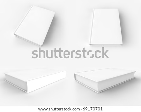 A render of a blank book in several views - stock photo