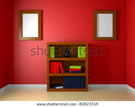 A render of a bookshelf in a red room - stock photo