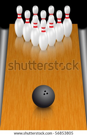 A render of a bowling ball in front of standing pins - stock photo