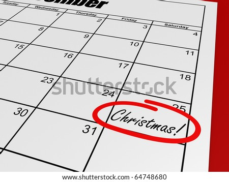 A render of a calendar with a mark on christmas day - stock photo