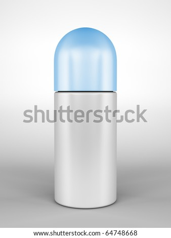 A render of a closed roll-on deodorant bottle - stock photo