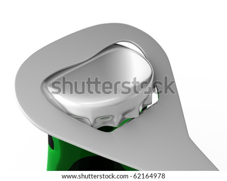 A render of a closeup of a bottle opener opening a green bottle - stock photo