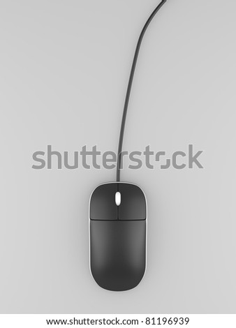A render of a computer mouse over gray - stock photo