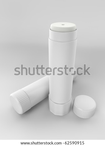 A render of a couple of glue sticks over a white background
